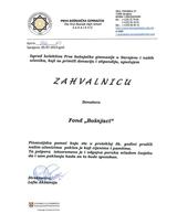Prva bošnjačka gimnazija Sarajevo zahvalnica