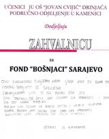 """Učenici JU OŠ """"Jovan Cvijić"""" zahvalnica"""