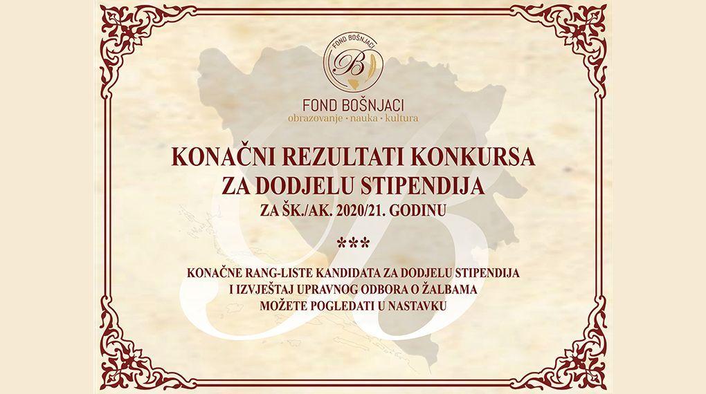 Konačni rezultati konkursa za dodjelu stipendija za školsku/akademsku 2020/21. godinu
