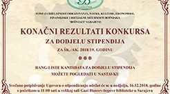 REZULTATI KONKURSA ZA DODJELU STIPENDIJA ZA ŠK./AK. 2018/19. GODINU