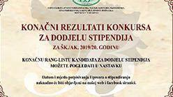Konačni rezultati konkursa za dodjelu stipendija za šk./ak. 2019/20. godinu