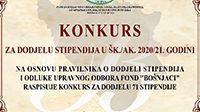 Konkurs za dodjelu stipendija u šk./ak. 2020/21. godini