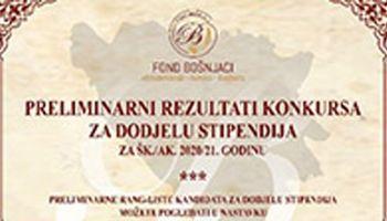 Preliminarni rezultati konkursa za dodjelu stipendija za šk./ak. 2020/21. godinu